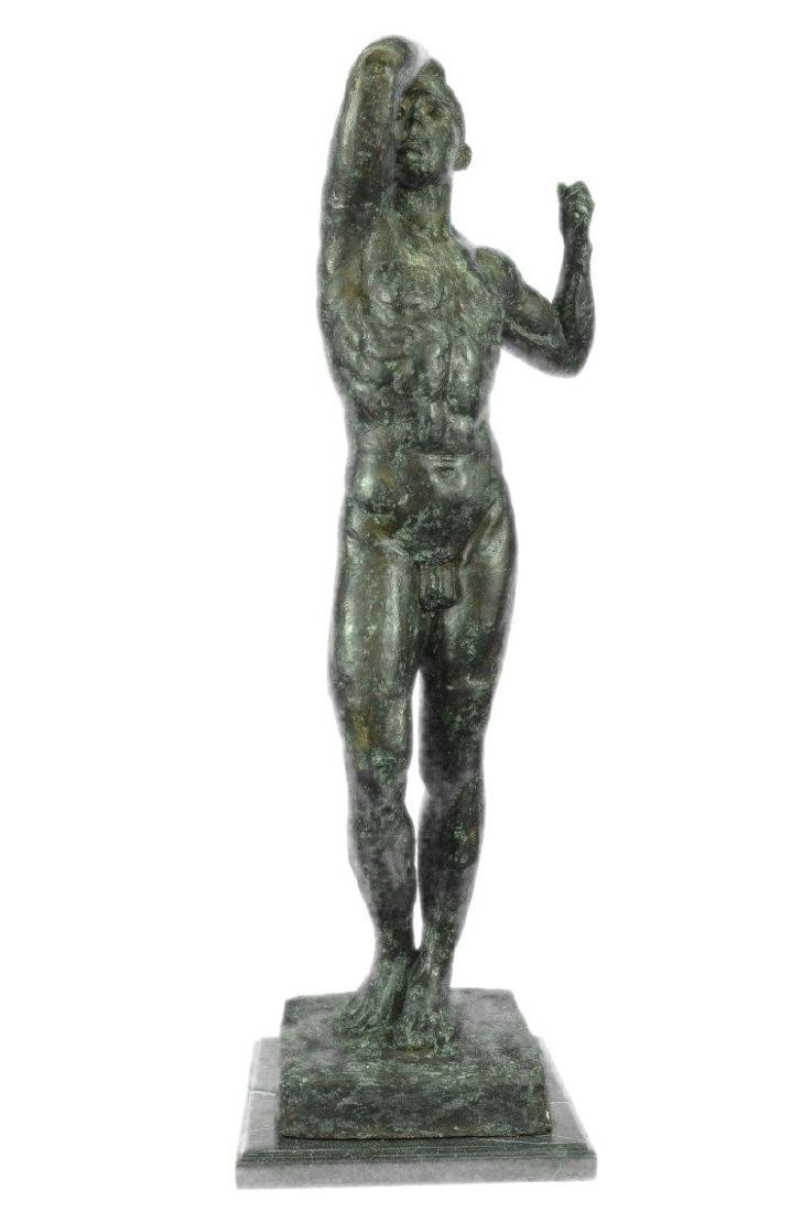 Nude Male Man Bronze Sculpture on Marble Base Figurine
