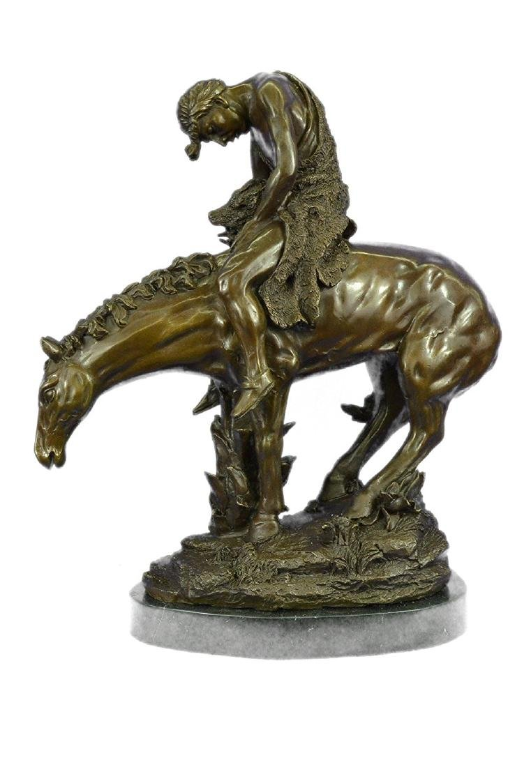 Indian on Horse a Tribute Bronze Sculpture