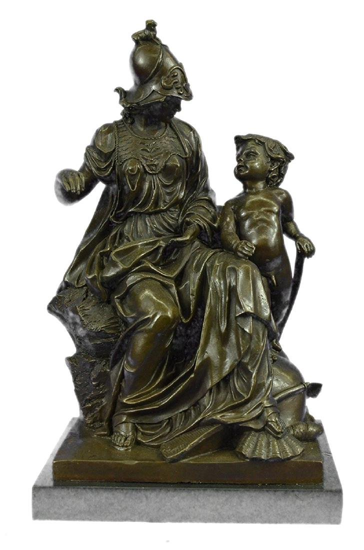Roman Warrior With Child Bronze Sculpture on Marble