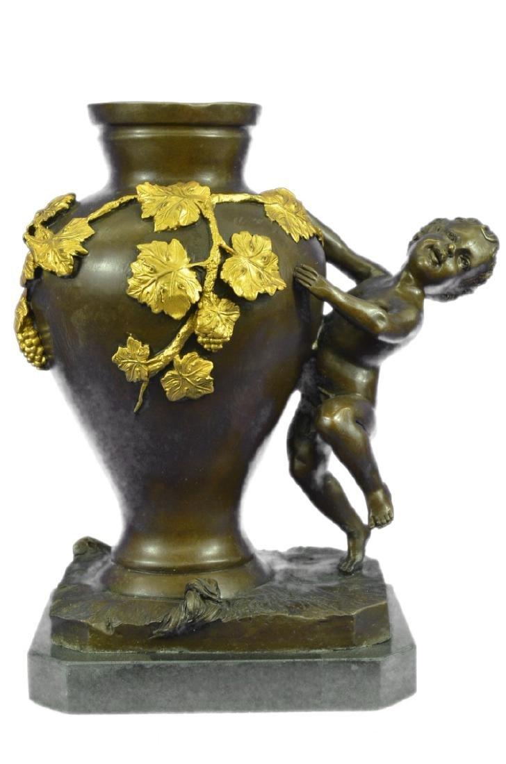 Handcrafted Marble Base Nude Boy Bronze Sculpture Vase