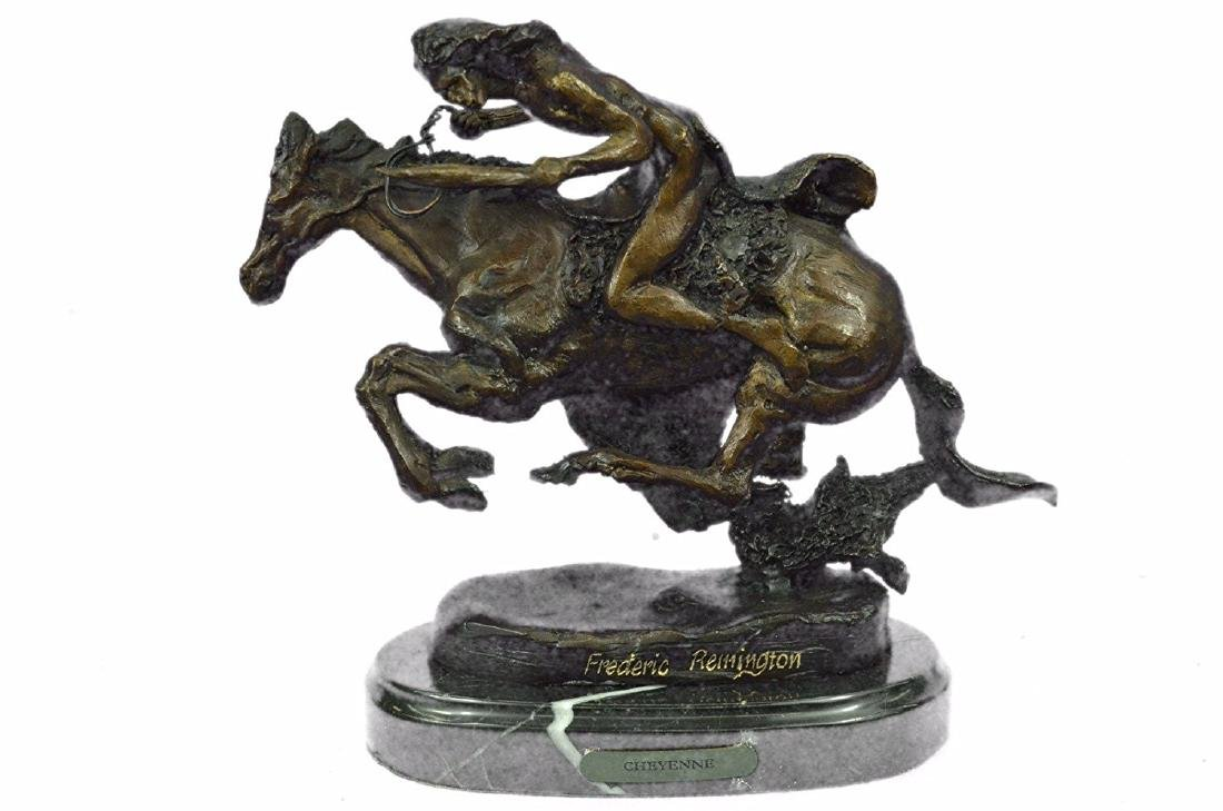 Native American Indian Riding Horse Bronze Sculpture