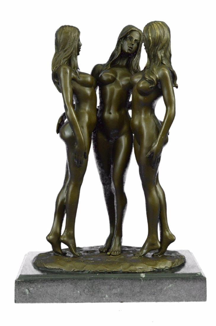 Three Friends Nude Three Graces Girls Bronze Sculpture