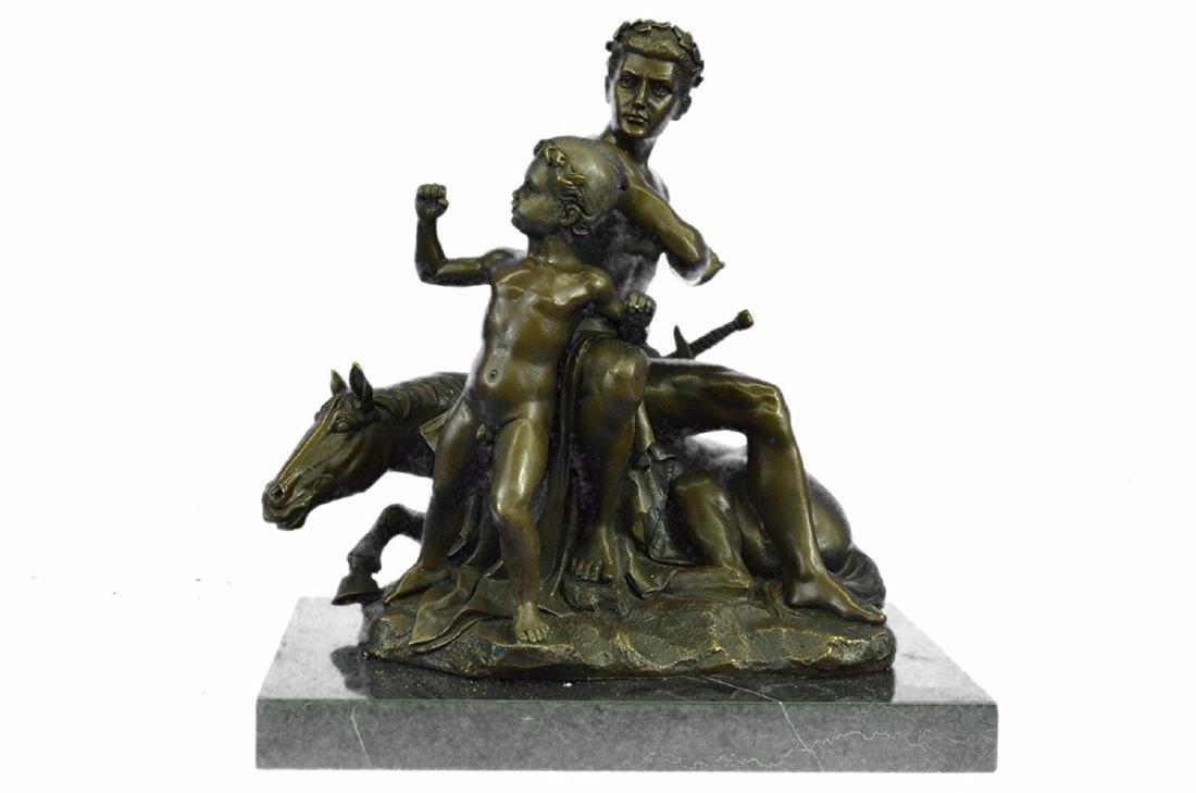 Roman Gladiator Sitting on Horse Bronze Sculpture