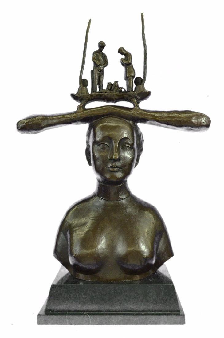 Nude Woman Bust Bronze Sculpture