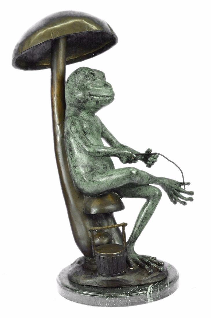 Frog Fishing Bronze Sculpture