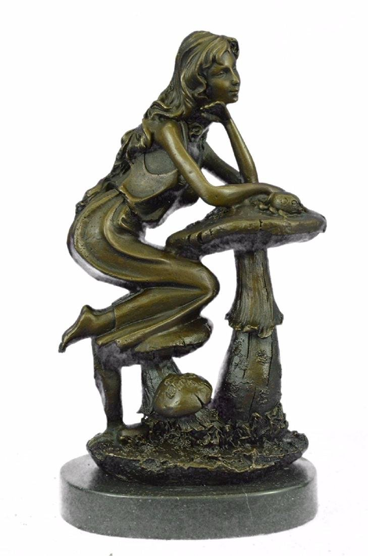 Sitting Young Lady on Mushroom Bronze Sculpture