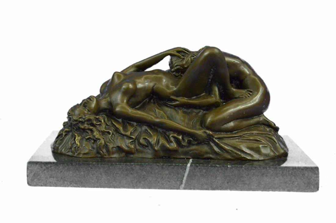 Lambeaux Two Lesbian Girl Bronze Sculpture on Marble