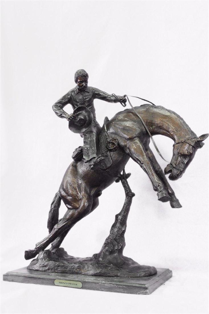 Twister Cowboy on Horseback Bronze Sculpture