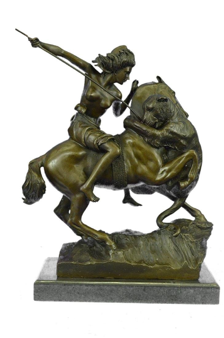 Female Amazon Warrior on Horse Bronze Sculpture