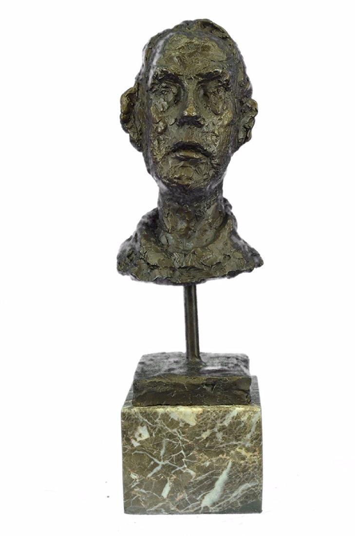 Male Head Bust Bronze Sculpture on Marble Base Figure