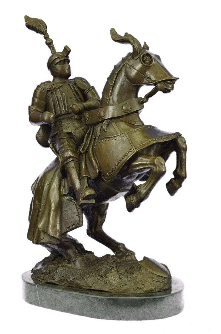 Bold Knight on Horse Bronze Sculpture on Marble Base