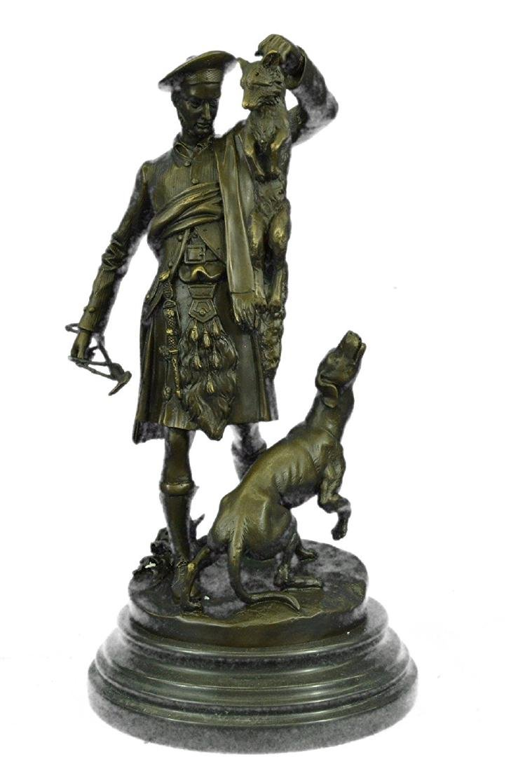 A Patinated Group of A Scottish Hunter Bronze Sculpture