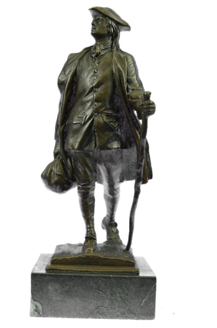 Youthful American Benjamin Franklin Bronze Sculpture