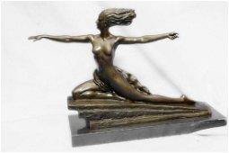 Nude Amazon Girl Bronze Statue