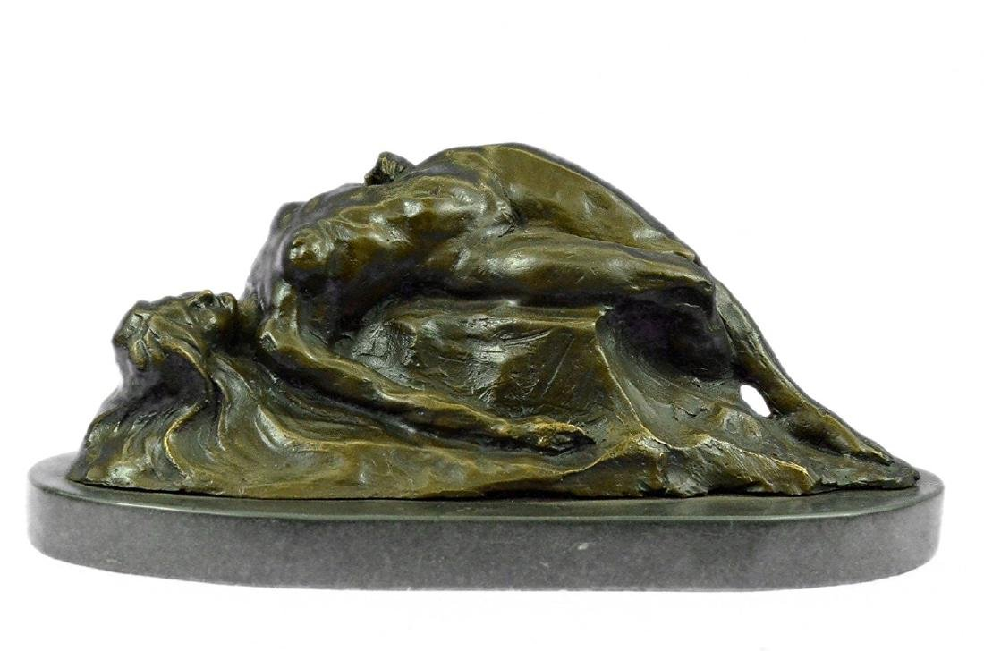 Nude Female on Rock Bronze Sculpture on Marble Base