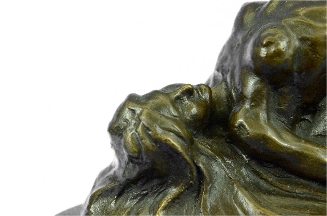 Nude Female on Rock Bronze Sculpture on Marble Base - 2