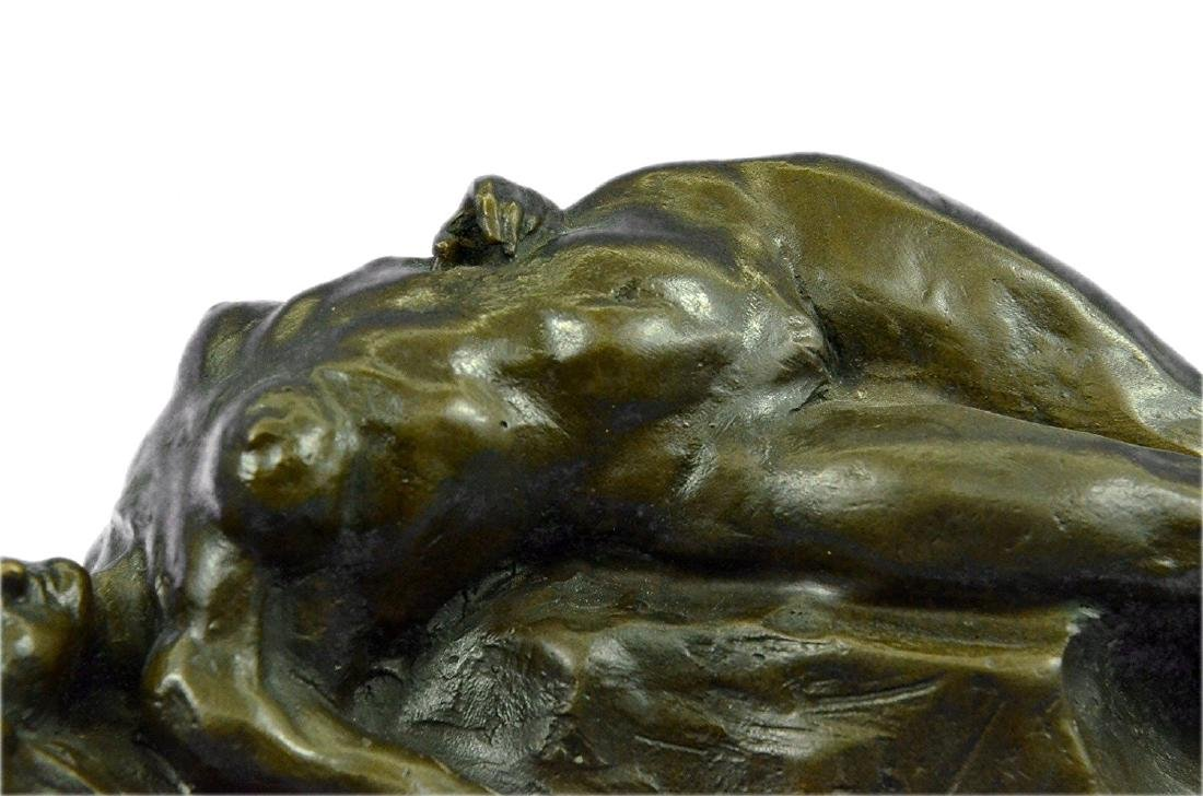 Nude Female on Rock Bronze Sculpture on Marble Base - 4
