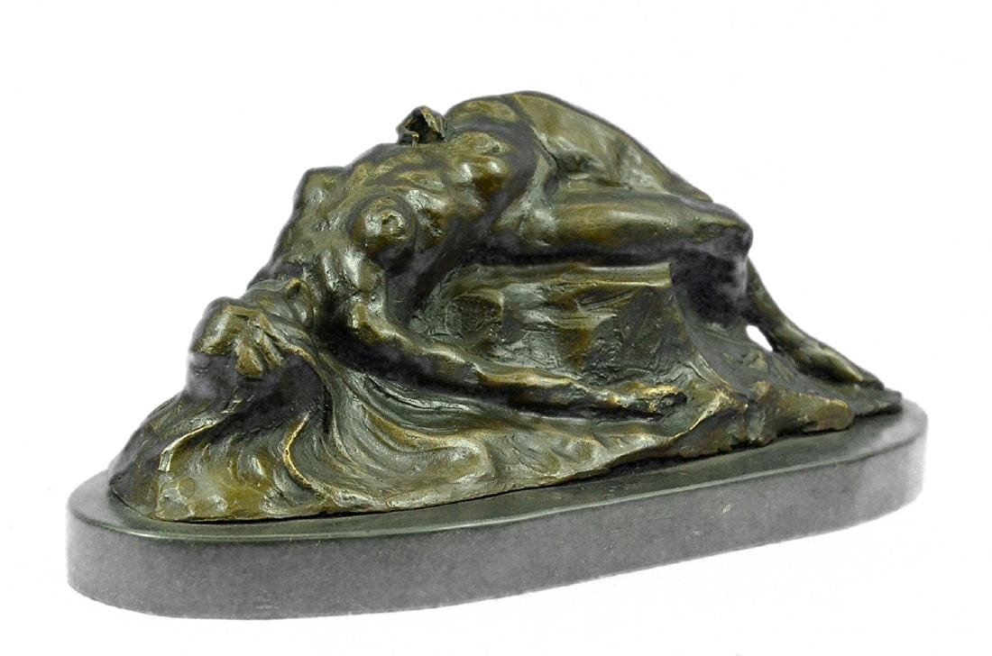 Nude Female on Rock Bronze Sculpture on Marble Base - 5