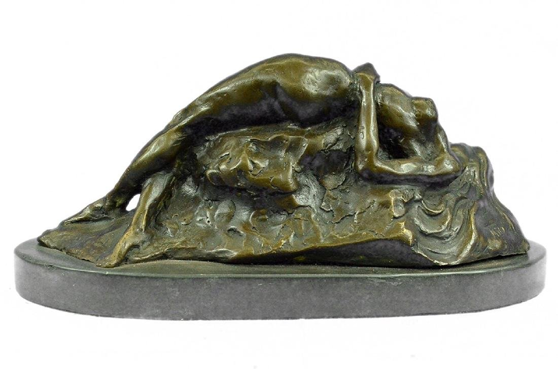 Nude Female on Rock Bronze Sculpture on Marble Base - 7