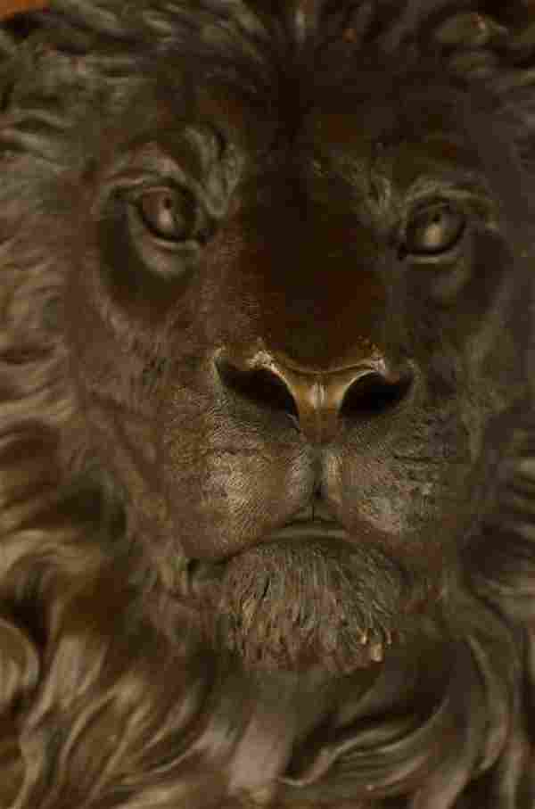 Wall Mount Lion Head Bust Bronze Sculpture