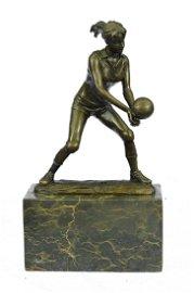 Girl Volleyball Player Bronze Figurine
