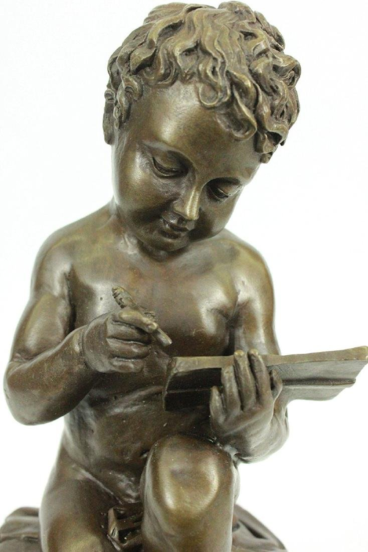 Nude Young Boy Reading Book Bronze Figurine - 2