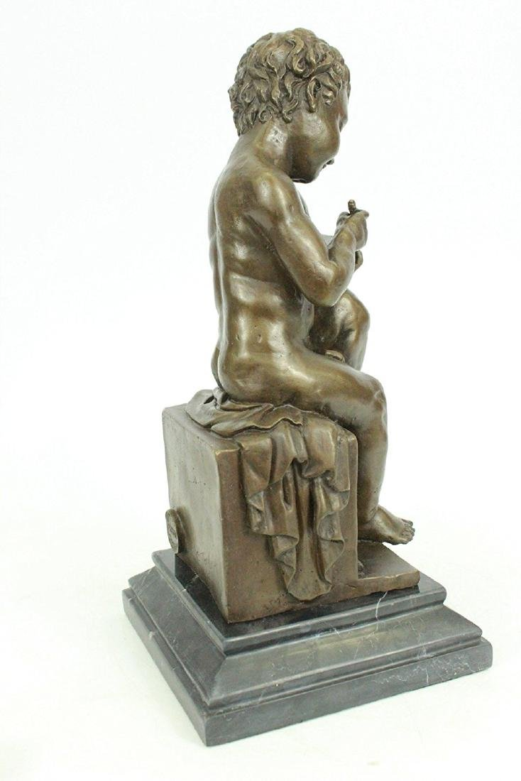 Nude Young Boy Reading Book Bronze Figurine - 5