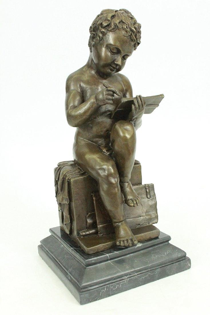 Nude Young Boy Reading Book Bronze Figurine - 6