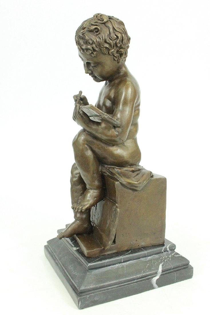 Nude Young Boy Reading Book Bronze Figurine - 7