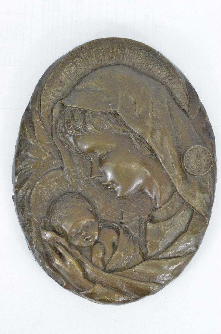 Virgin Mary Holding Baby Jesus Wall Plaque Bronze