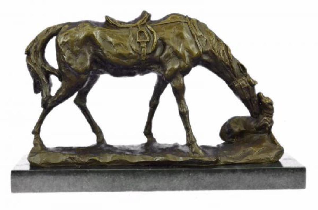 Horse Dog Bronze Sculpture on Marble Base Figurine - 2