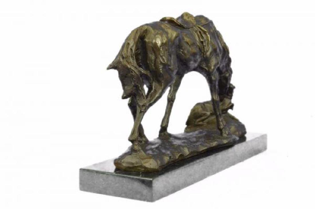 Horse Dog Bronze Sculpture on Marble Base Figurine - 3