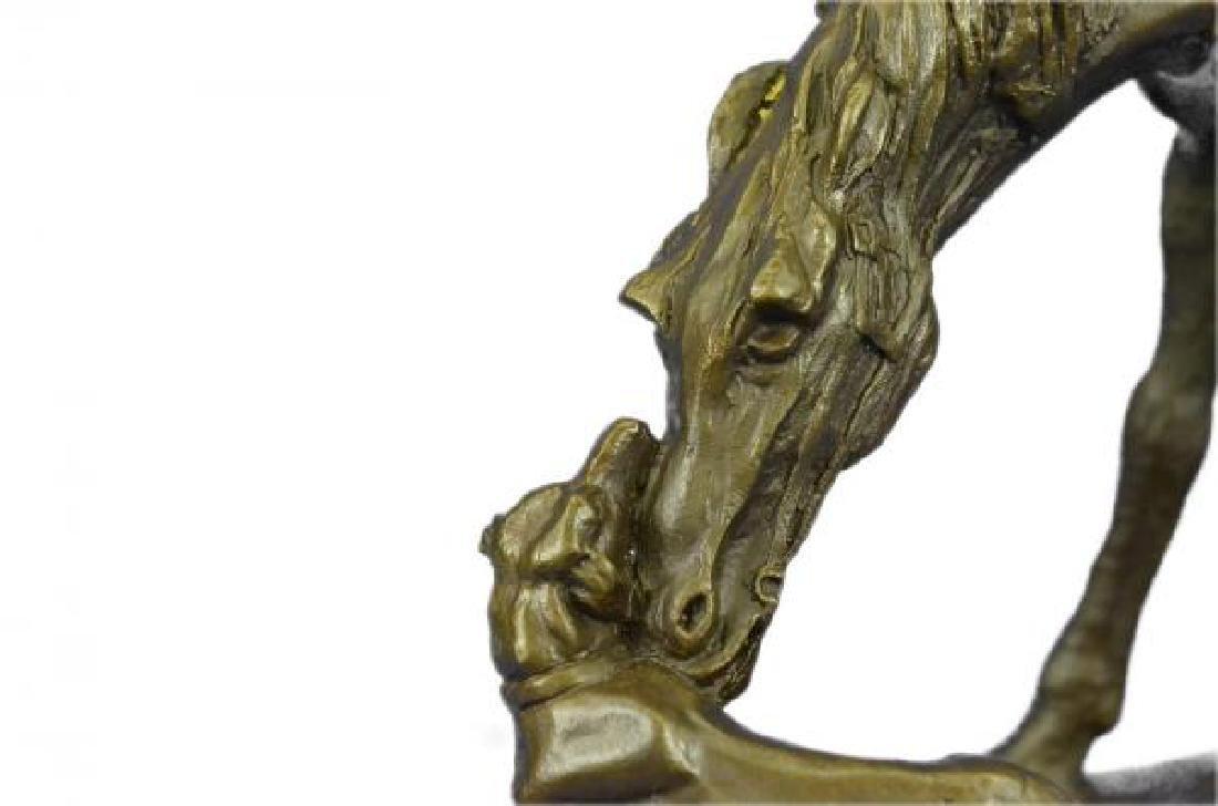 Horse Dog Bronze Sculpture on Marble Base Figurine - 5