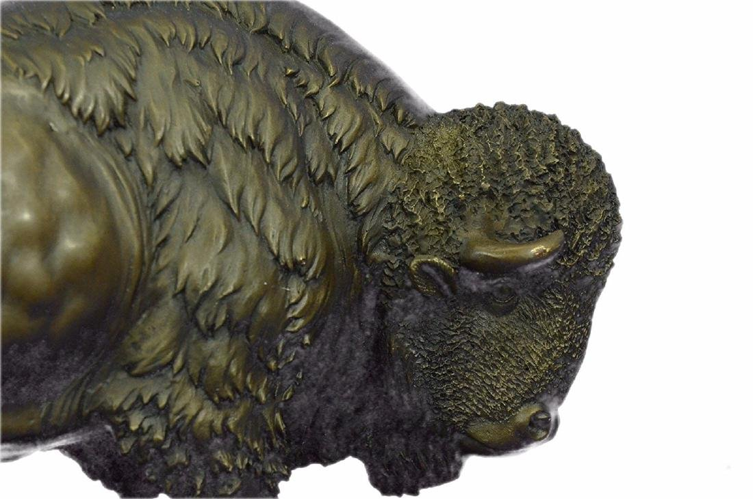 American Buffalo Bison Bronze Sculpture on Marble Base - 2