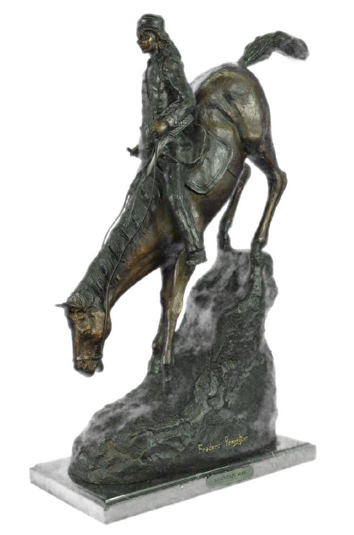 Mountain Man Bronze Sculpture on Marble Base Statue
