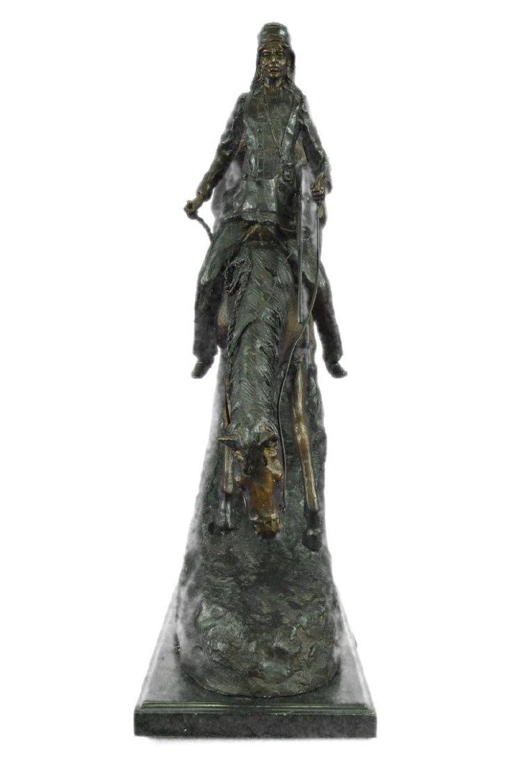 Mountain Man Bronze Sculpture on Marble Base Statue - 5
