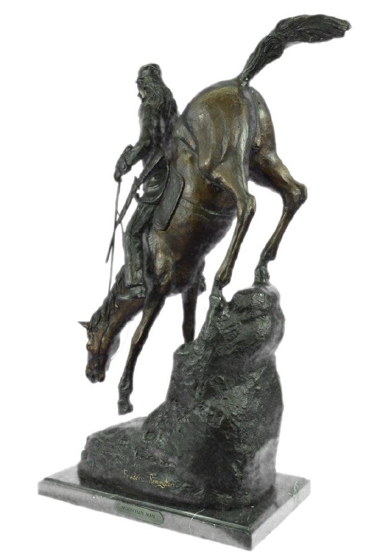 Mountain Man Bronze Sculpture on Marble Base Statue - 6