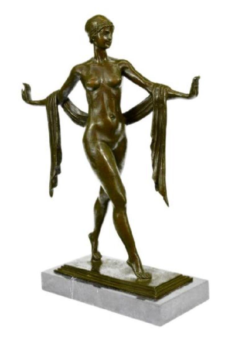 The Greek Dance Bronze Sculpture on Marble Base Statue