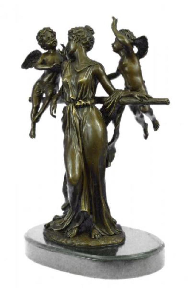 Cegazo Depicts of Woman and Two Cherub Bronze Sculpture