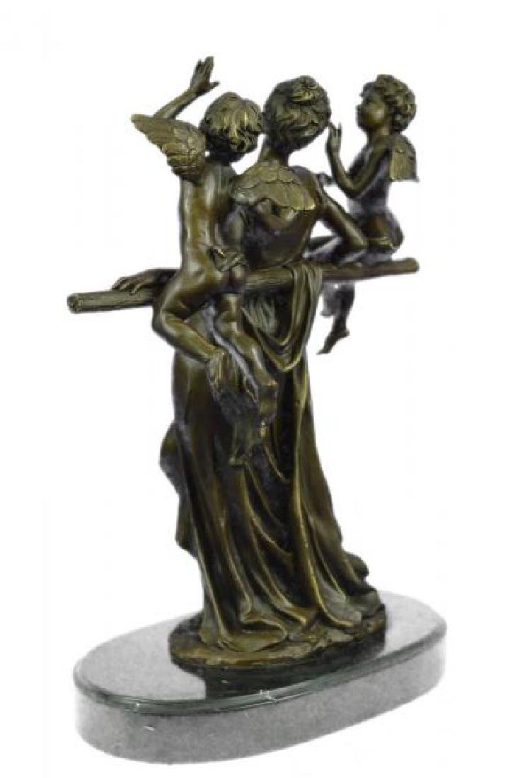 Cegazo Depicts of Woman and Two Cherub Bronze Sculpture - 2