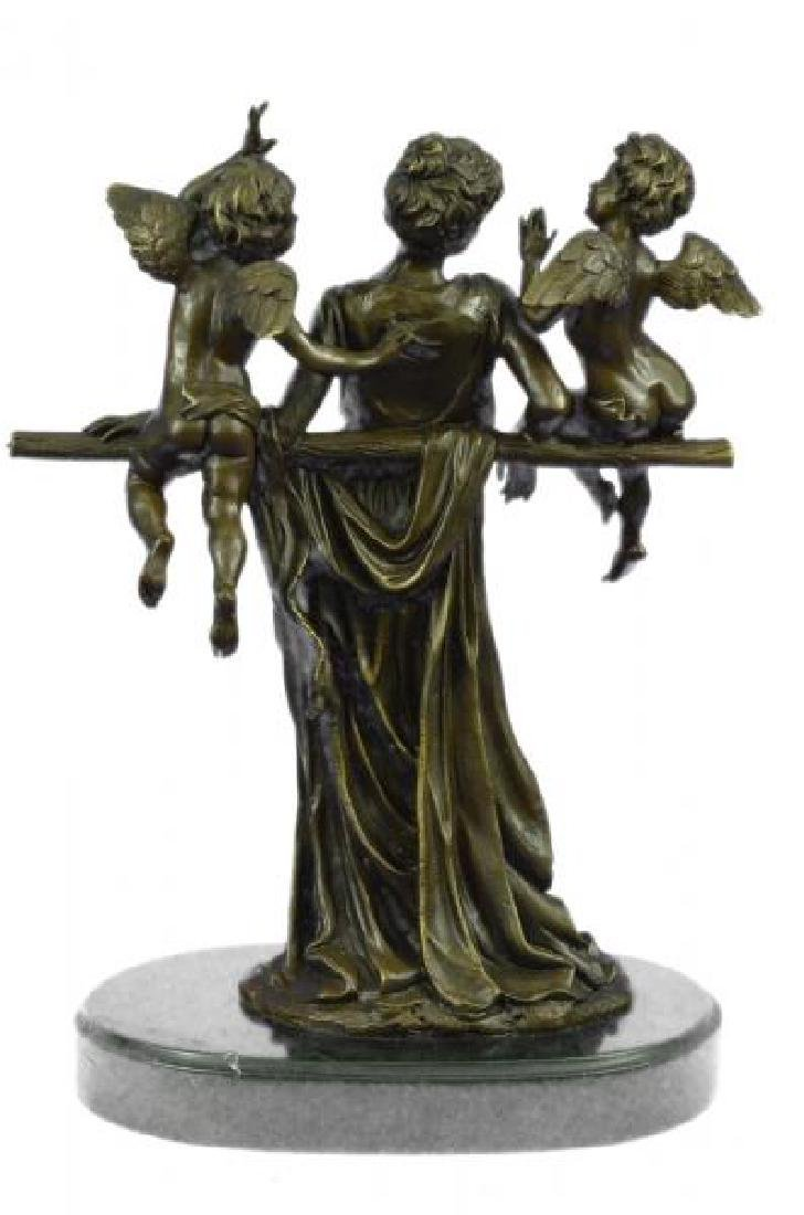 Cegazo Depicts of Woman and Two Cherub Bronze Sculpture - 3