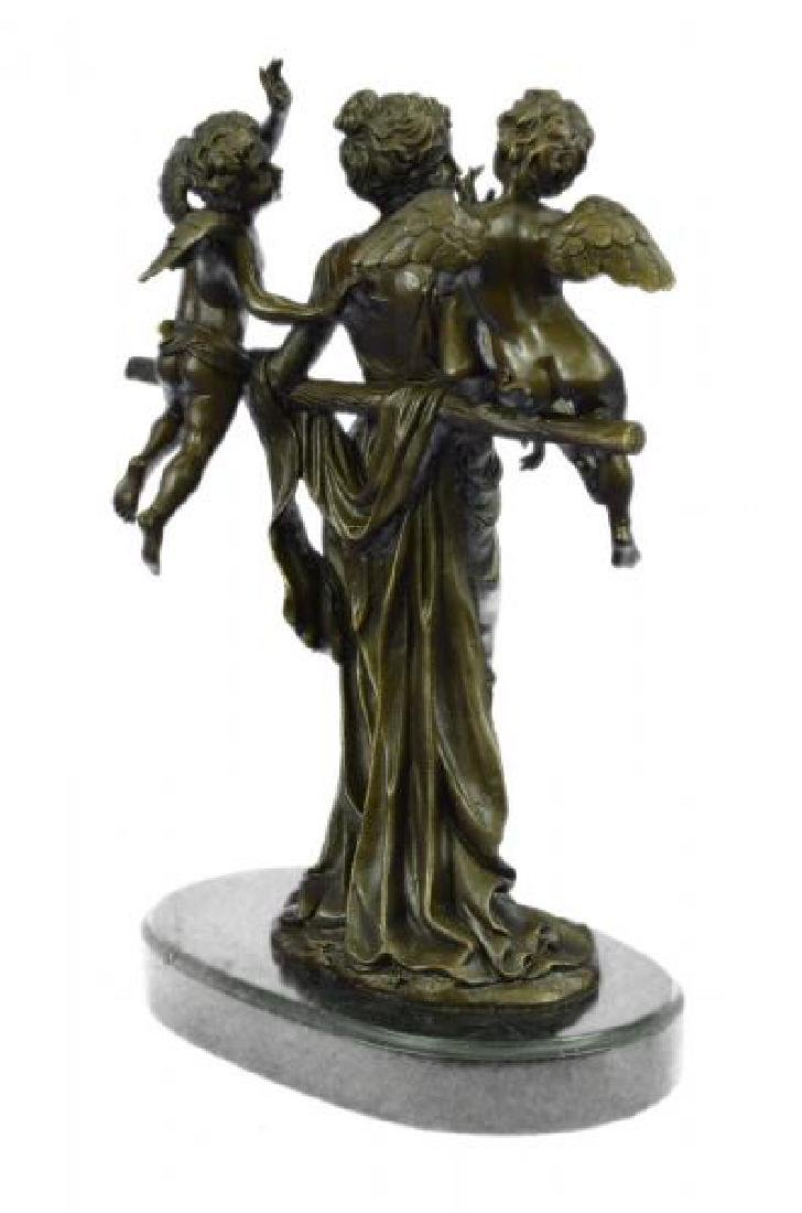 Cegazo Depicts of Woman and Two Cherub Bronze Sculpture - 4