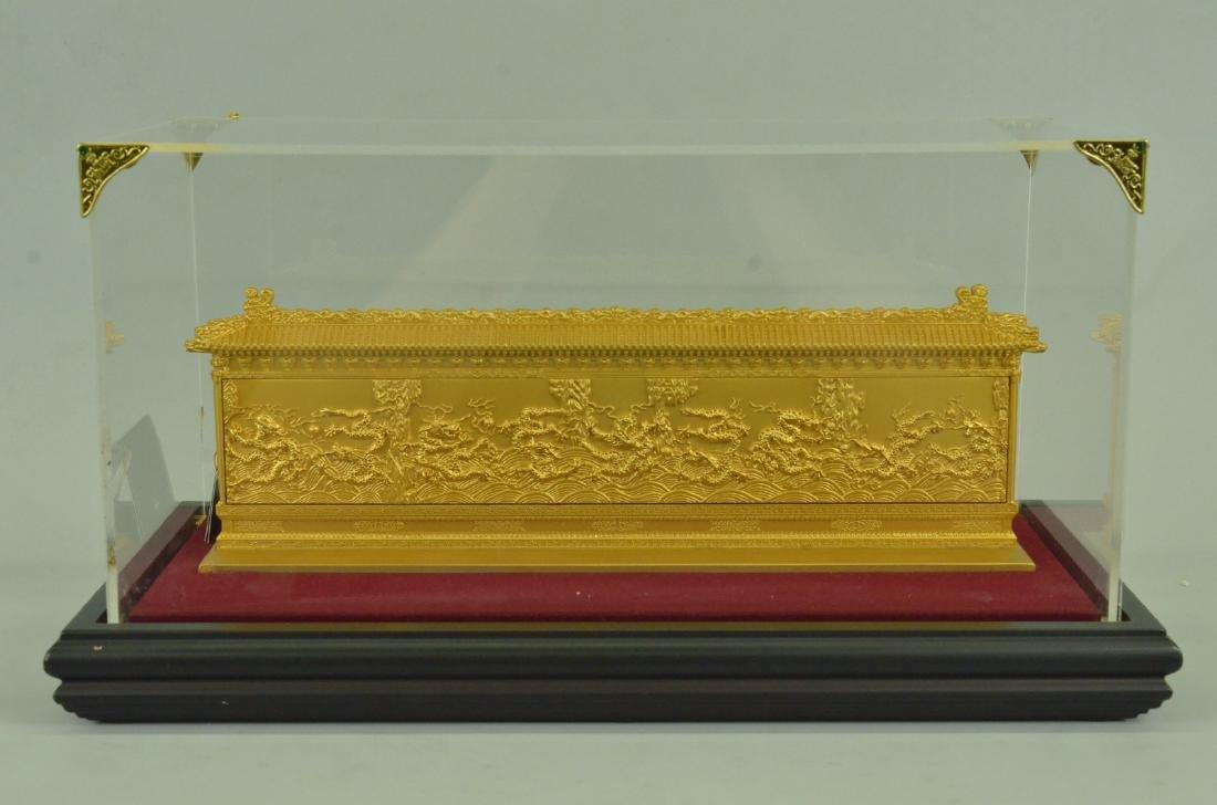 Gold Plexiglases Dragon Sculpture