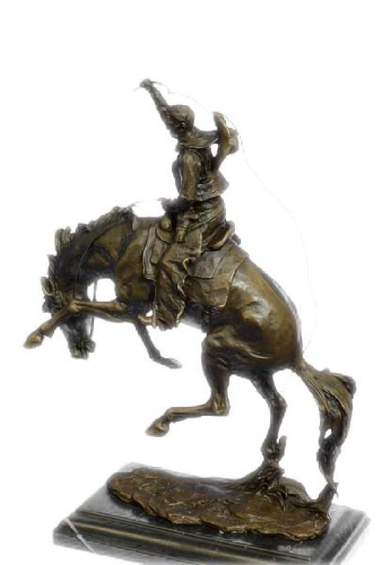 An American Classic Bronco Buster Bronze Sculpture on - 6