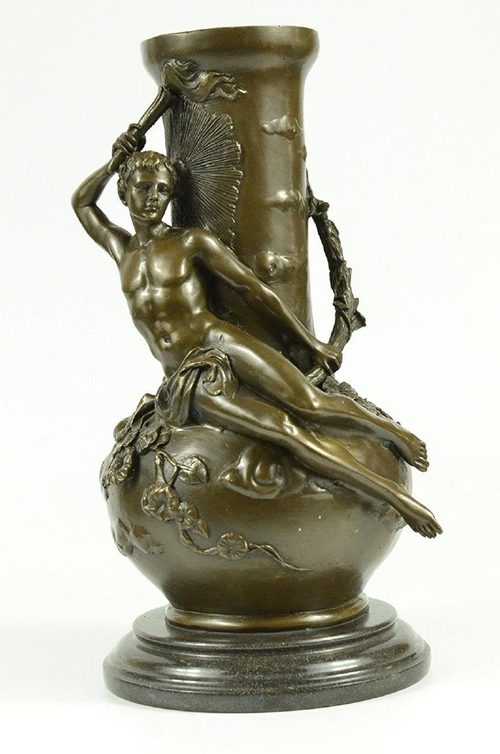 Nude Man Bronze Vase Sculpture