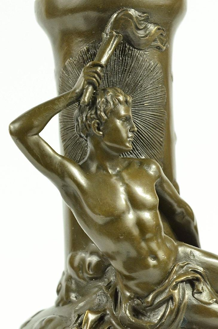 Nude Man Bronze Vase Sculpture - 2