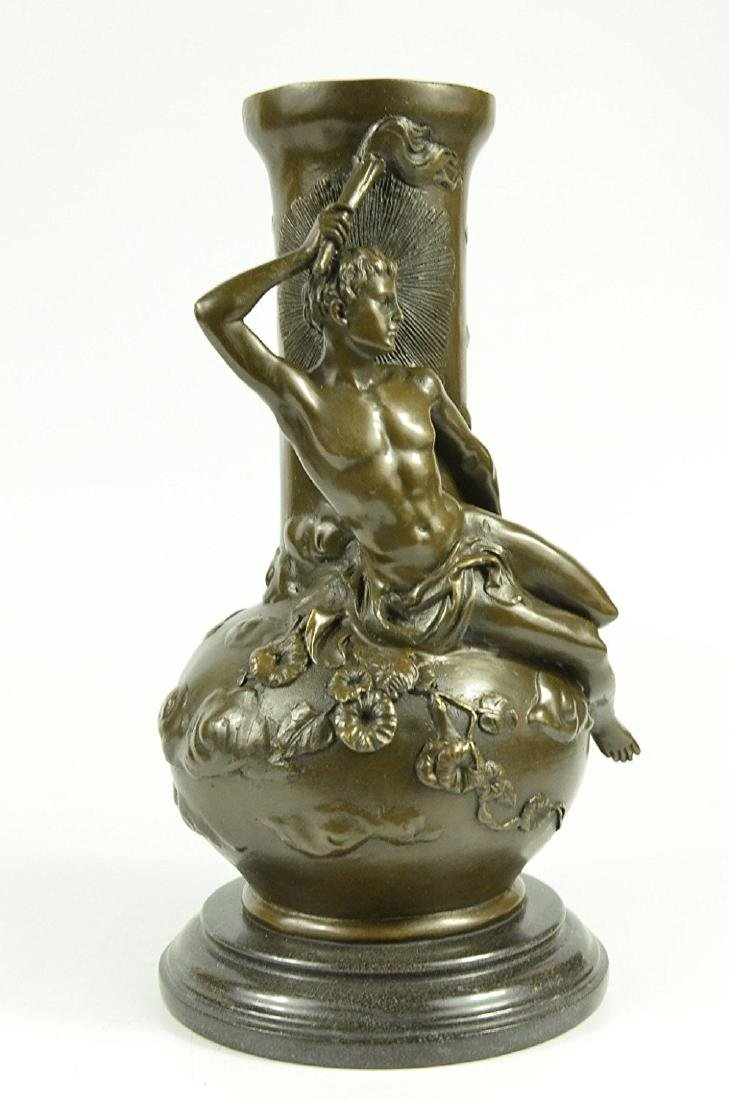 Nude Man Bronze Vase Sculpture - 6