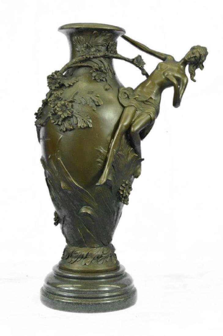 Nude Girl Floral Vase Bronze Figurine