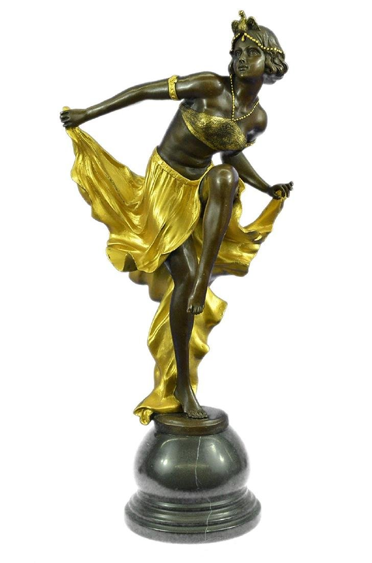 Gold Patina Bronze Sculpture on Marble Base Figurine