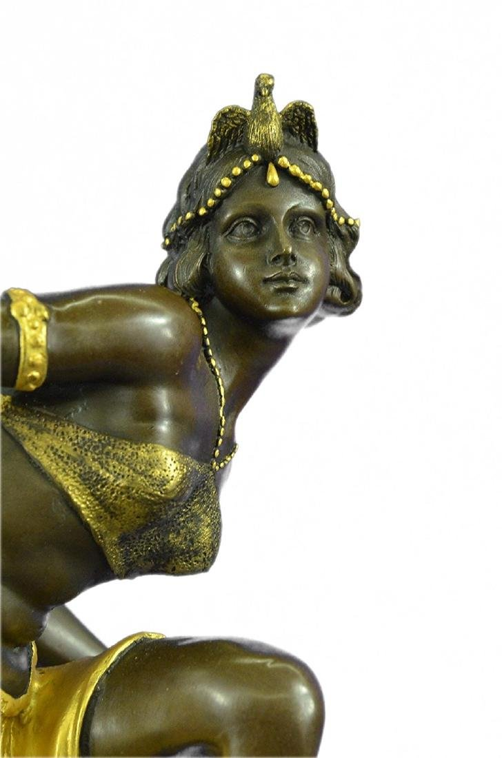 Gold Patina Bronze Sculpture on Marble Base Figurine - 2